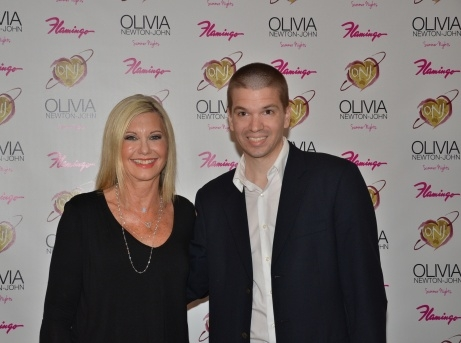 With Oliva Newton-John at her show at the Flamingo Las Vegas Hotel and Casino